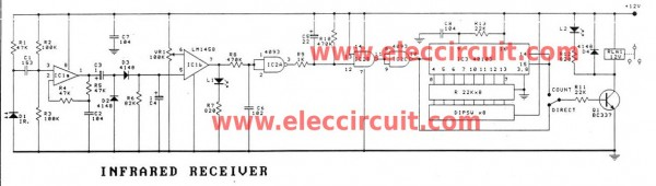 Infrared receiver by LM1458-CD40103