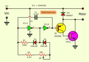 Pulse width modulation motor control using CD40106