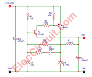 Simple 12V transistor switching power supply