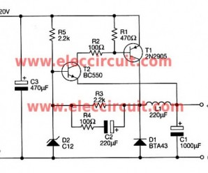 12 volts switching power supply using transistor