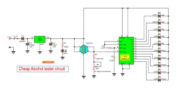 cheap alcohol tester circuit
