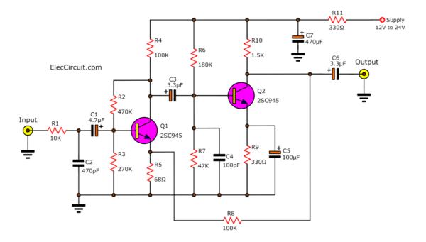 circuit diagram of two transistors Dynamic preamplifier