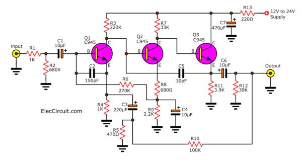 3 transistor Preamplifier circuit