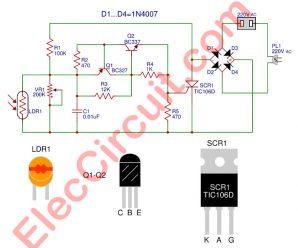 Automatic night light circuit using SCR