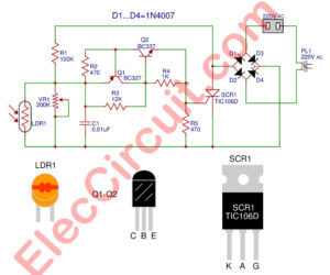 Automatic night light circuit using SCR