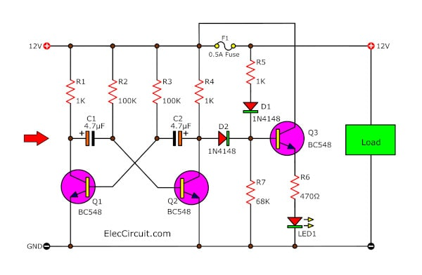 Fuse status indicators for 12 volts power supply