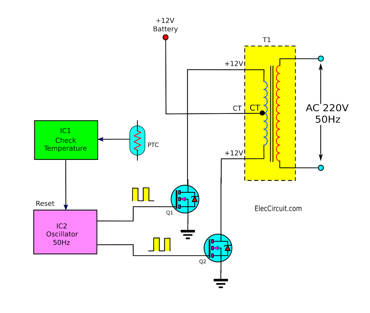 Operation Of Watt Inverter Diagram Electronic Projects Circuits - Circuit diagram of an inverter