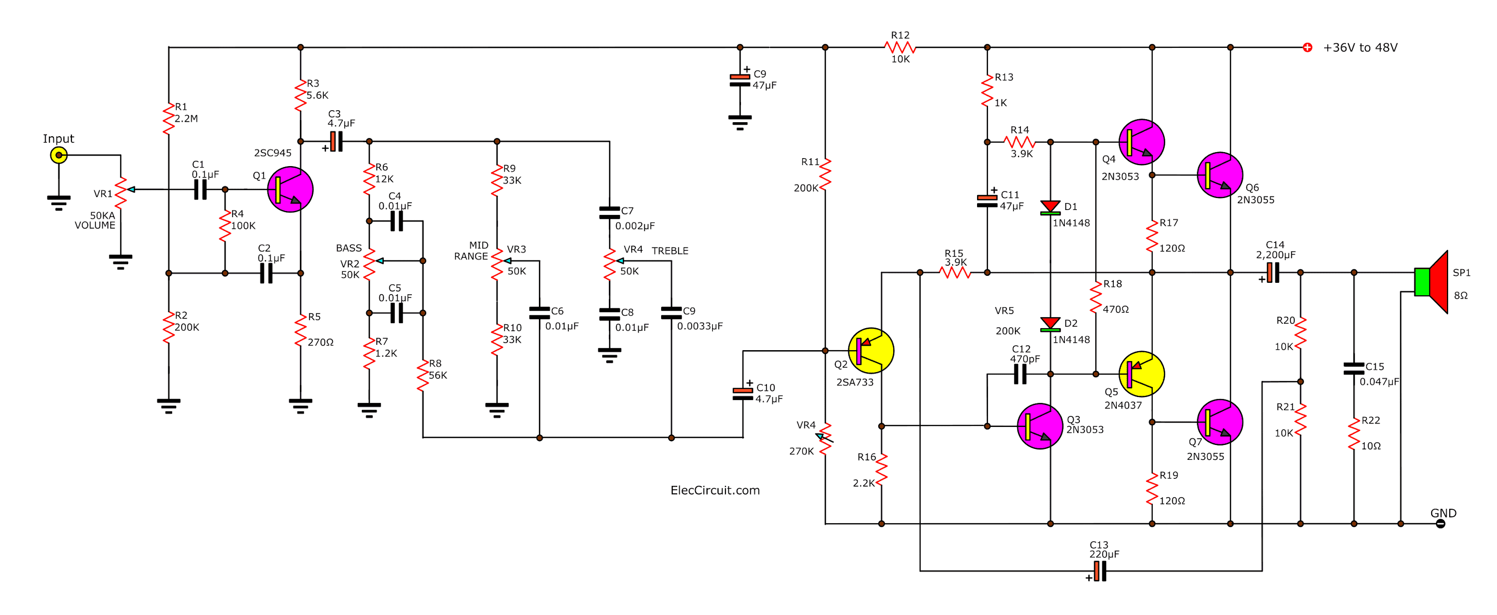 audio amplifier circuit diagram using 2n3055