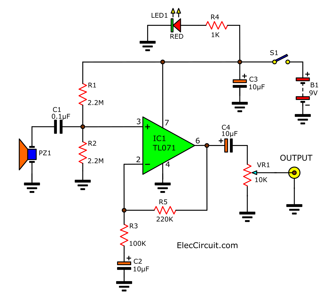 acoustic guitar pickup circuit using tl071 eleccircuit com rh eleccircuit com LTD Bass Guitar Wiring Diagrams Yamaha Bass Guitar Wiring Diagram