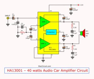 HA13001 – 40 watts Audio Car Amplifier Circuit with PCB