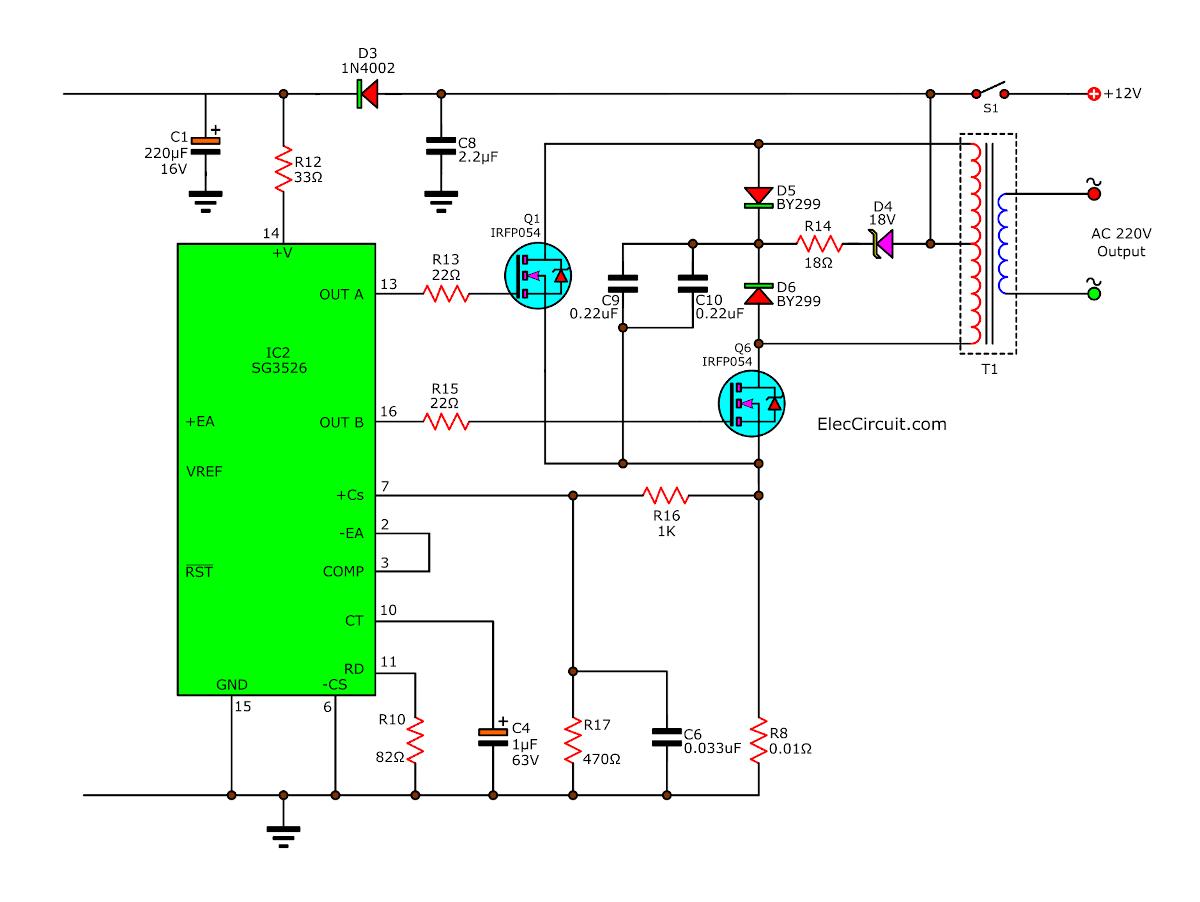 output of 200W inverter circuit diagram