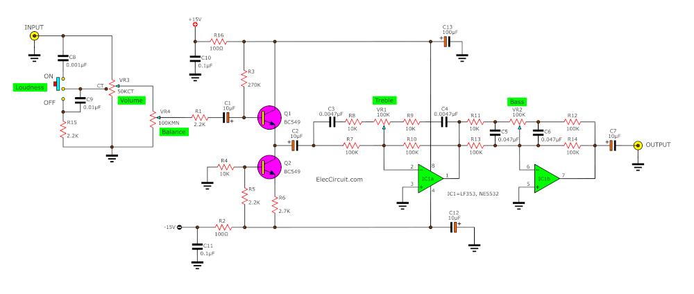 Super pre tone control project using LF353 - ElecCircuit.com