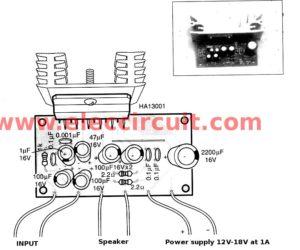 Mini 40 watt audio car amplifiers using HA13001