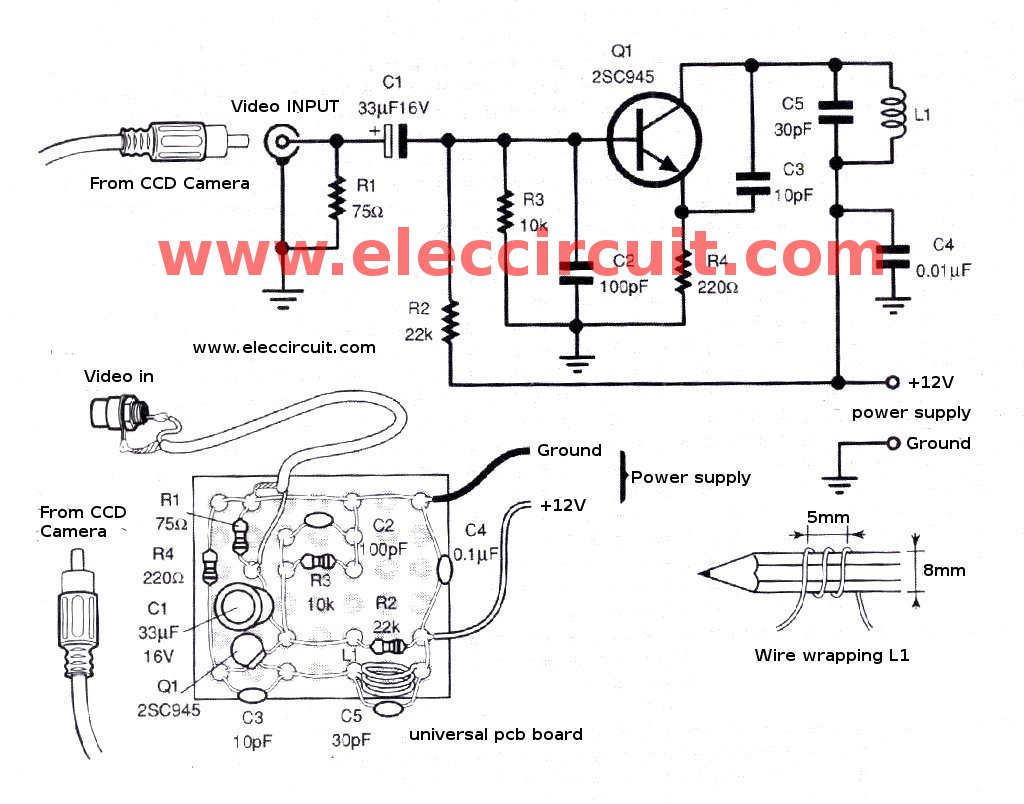 the simple video vhf transmitter circuit how to install ccd camera sensor with vhf sender ccd camera wiring diagram at readyjetset.co
