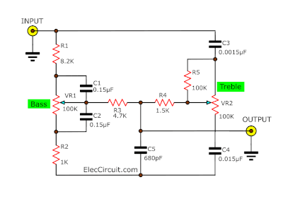 Super pre tone control project using LF353 - ElecCircuit.com