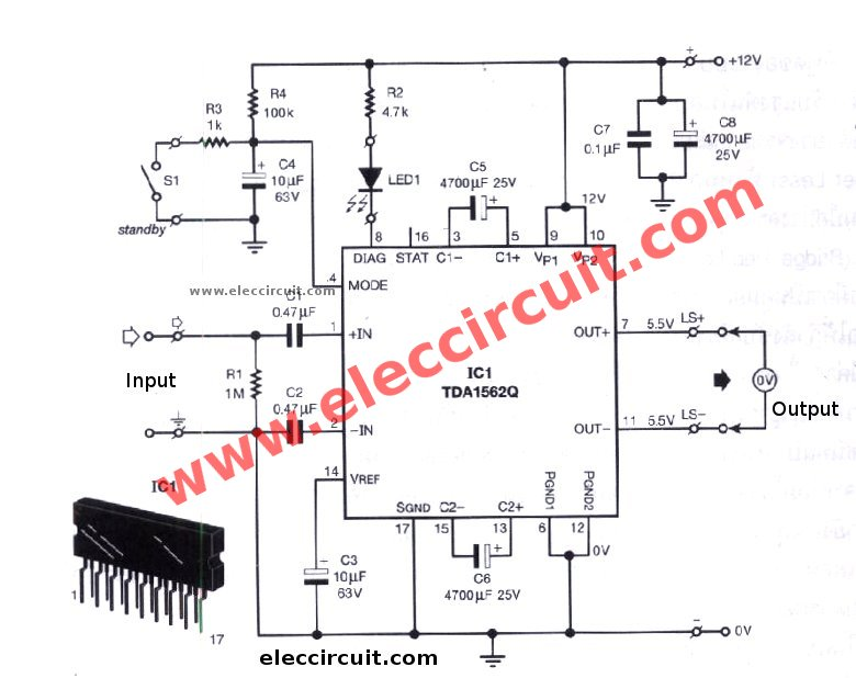 12v car audio amplifier circuit  50w