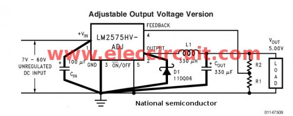 Adjustable-output-voltage-by-lm2575