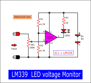 LM339 LED voltage monitor circuit