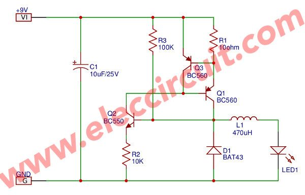 Switch mode LED driver circuit using transistors