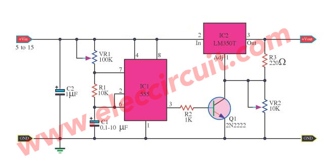 simple 555 pulse generator circuits tested eleccircuit comhigh power pulse generator using lm350t and ne555