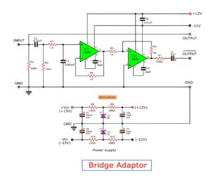 Bridge adapter circuit, stereo to high power mono amplifier