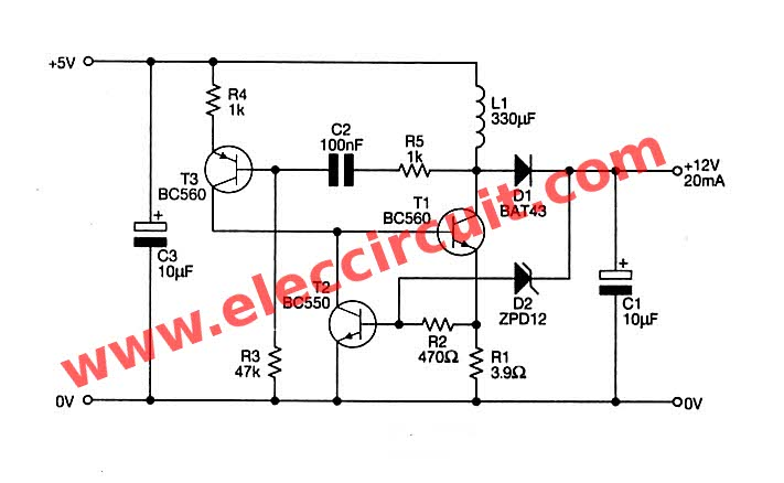 the complete circuit of the boost converter 5v to 12v usb 5v to 12v dc dc step up converter circuit SQD Transformer Diagrams at n-0.co
