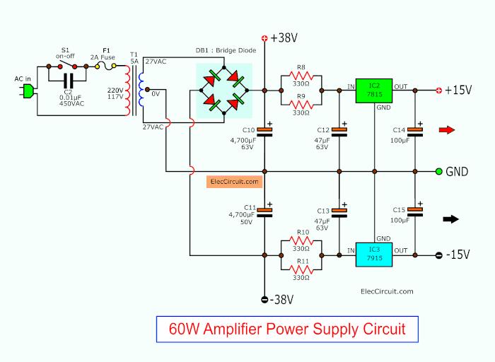 38V and 15V Dual Power supply circuit
