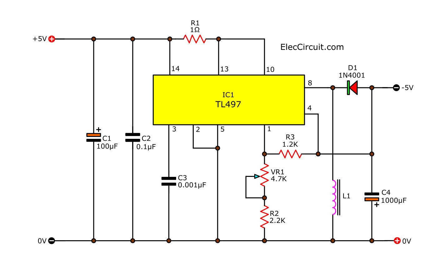 -5V Negative DC converter using TL497