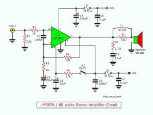 LM3876 60 watt stereo amplifier