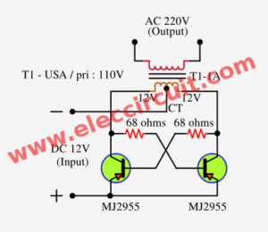 Very simple 50 watts inverter circuit using MJ2955