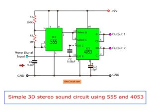 Simple 3D stereo sound  circuit using 555 and IC4053