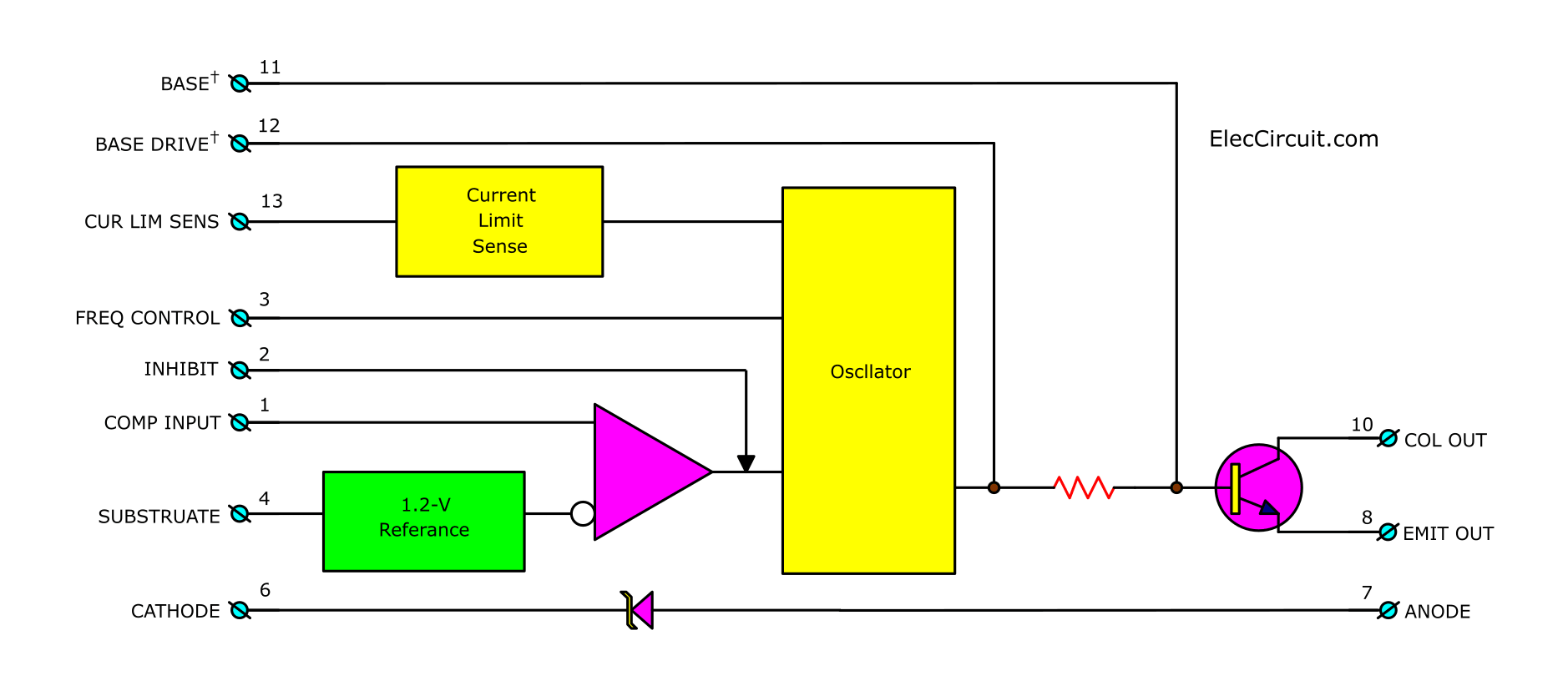 switched mode power supply schematic using tl497internal structures of tl497