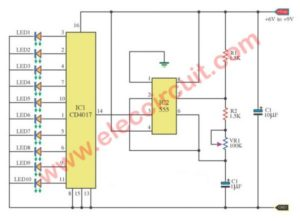 led-chaser circuit using IC-4017-555