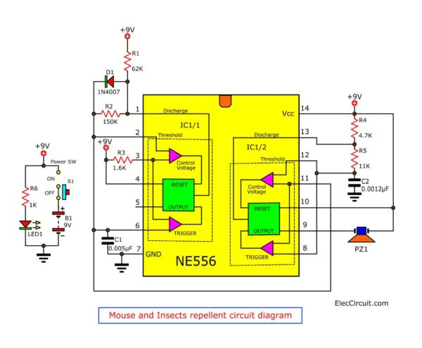 mouse and insects repellent circuit diagram
