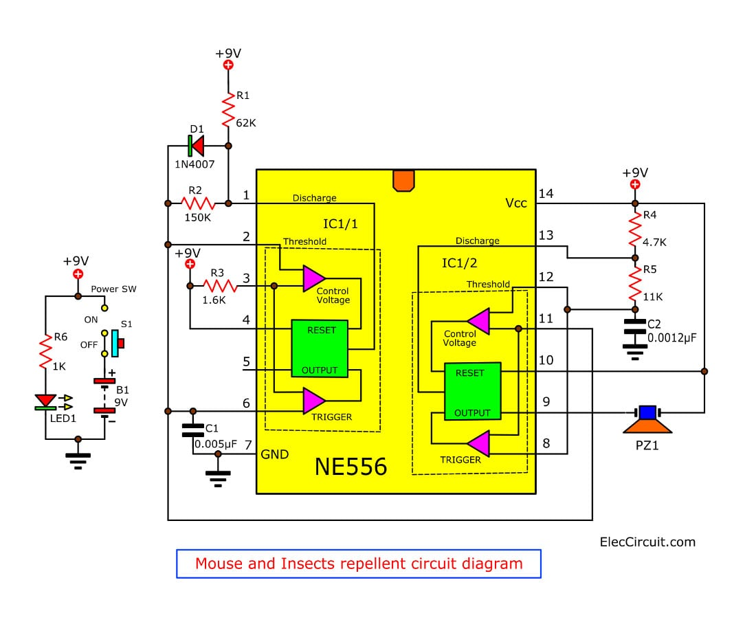 Astable 555 Timer Ic Flasher Circuit Diagram Insects And Mouse Repellent Using Ic556