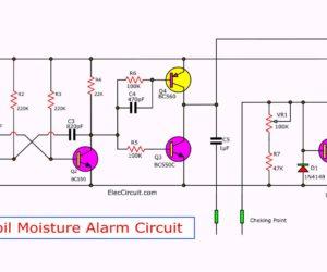 Simple soil moisture alarm circuit diagram using 1.5V battery