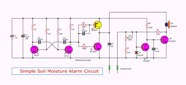 Simple soil moisture alarm circuit diagram using 1.5V battery