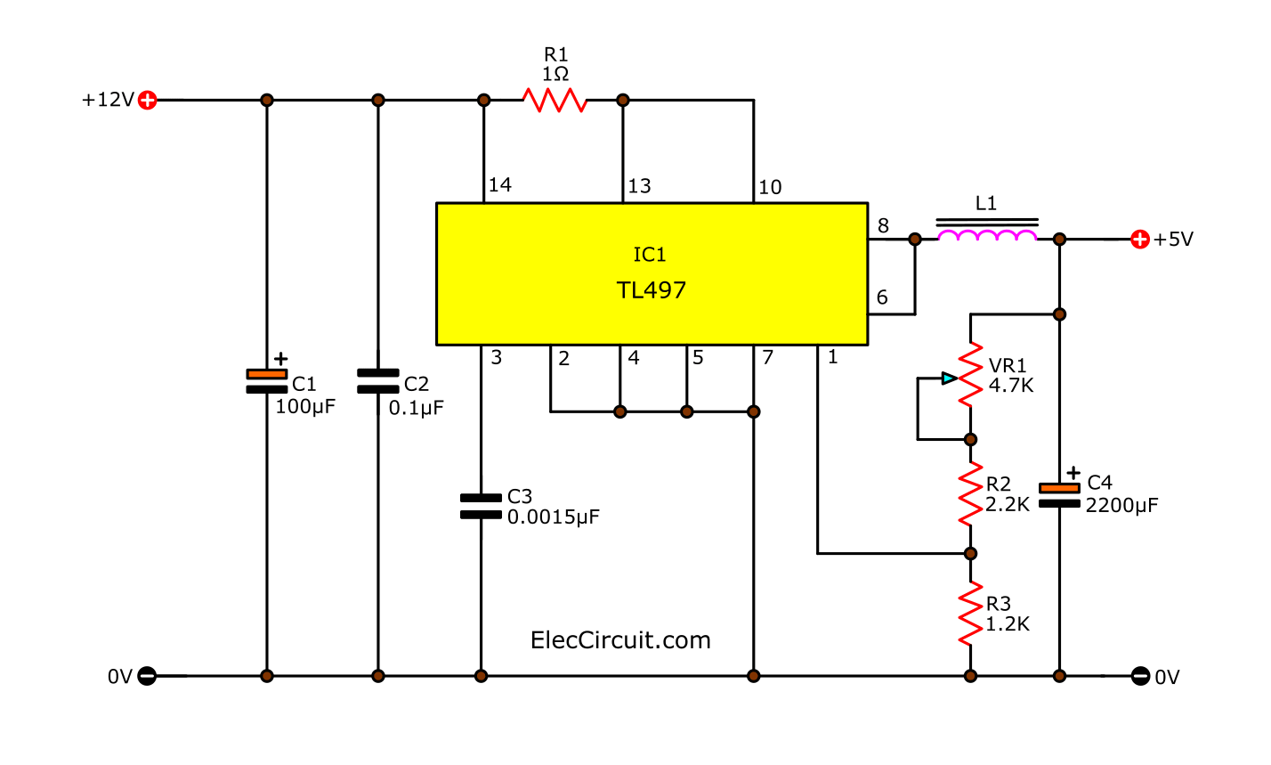 step down switching regulator using TL497