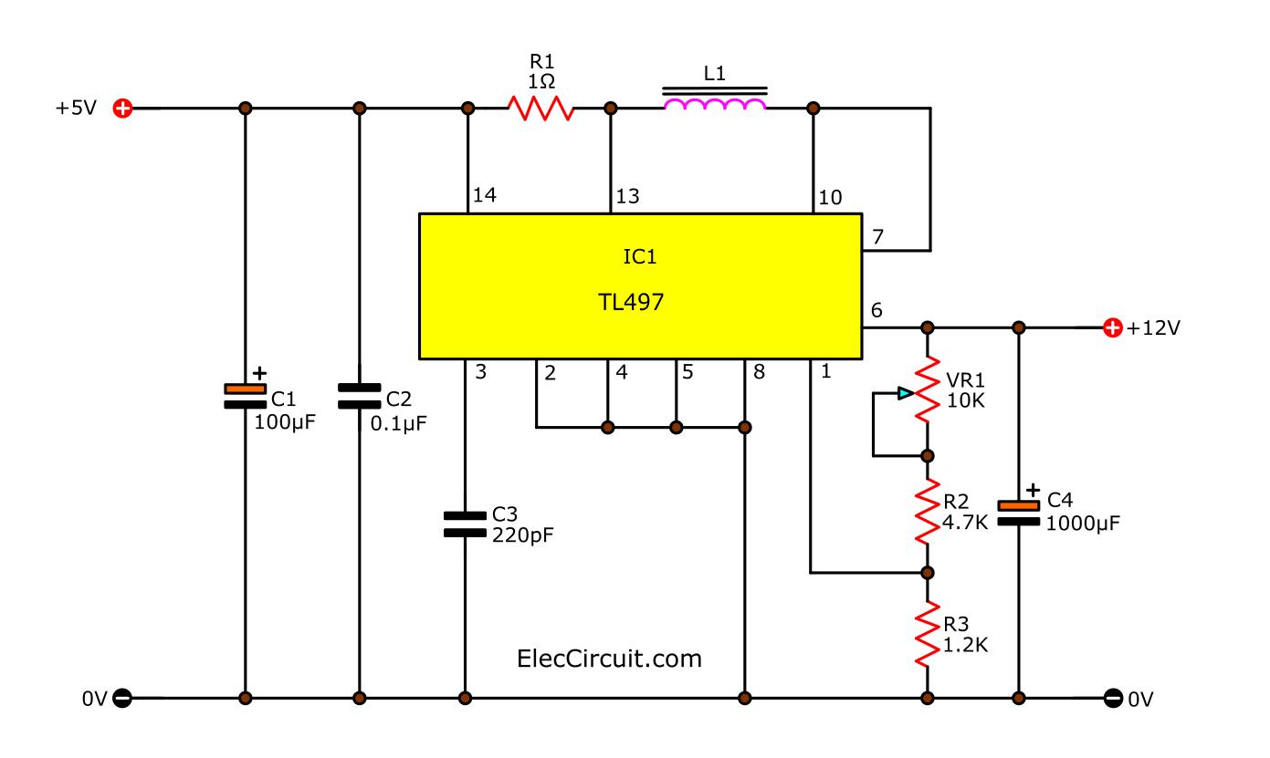 Step-up 5V to 12V DC converter using TL497