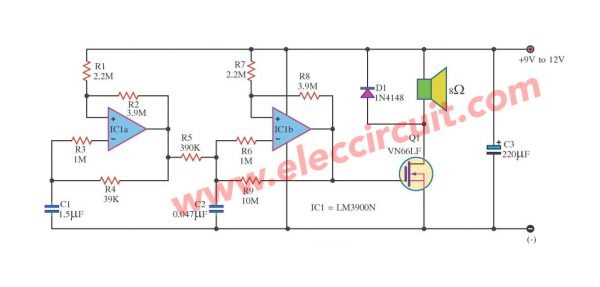 Two tone alarm circuit using LM3900