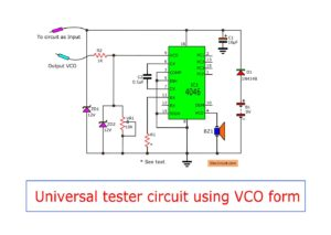 Universal tester circuit with VCO system