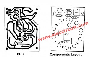 components-layout-of-Circle LED chaser circuit