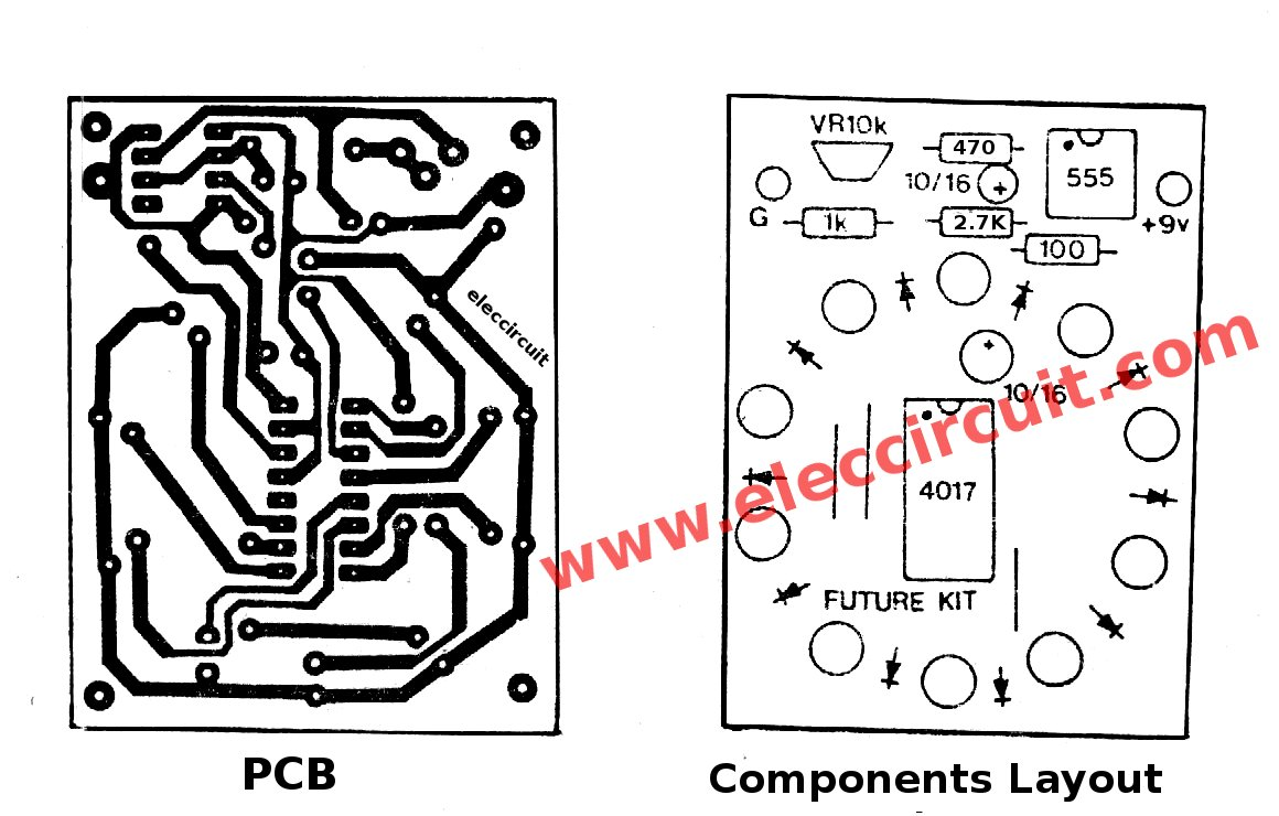 Led Chaser Circuit With Pcb Layout Running Lights Rapid Wiring Diagram Components Of Circle