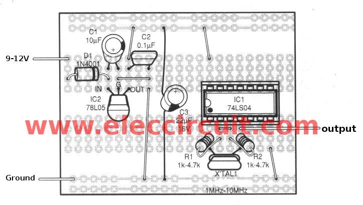 Simple Crystal Oscillator Circuit Using 74ls04