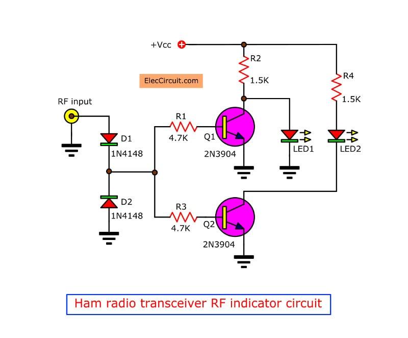Ham radio transceiver RF indicator circuit - ElecCircuit.com on ham radio circuits, ham radios for beginners, ham radio block diagram, ham receiver schematic,