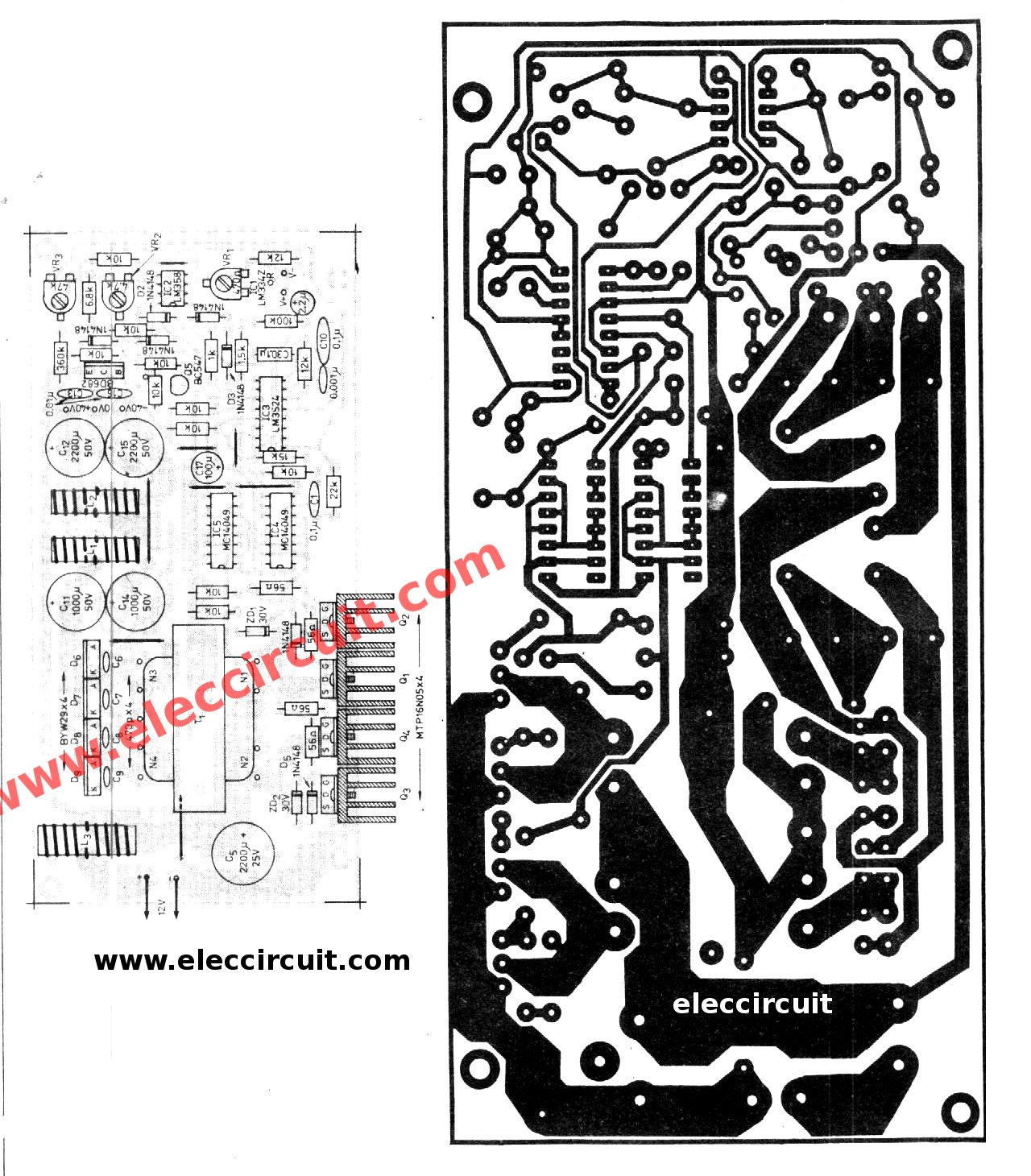 Car Dc To Converter Circuit Output 27v 50v 45 Amp Power Wiring Diagram The Pcb And All Components Layout Of