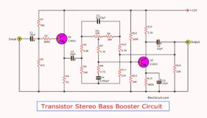 Transistor stereo bass booster circuit