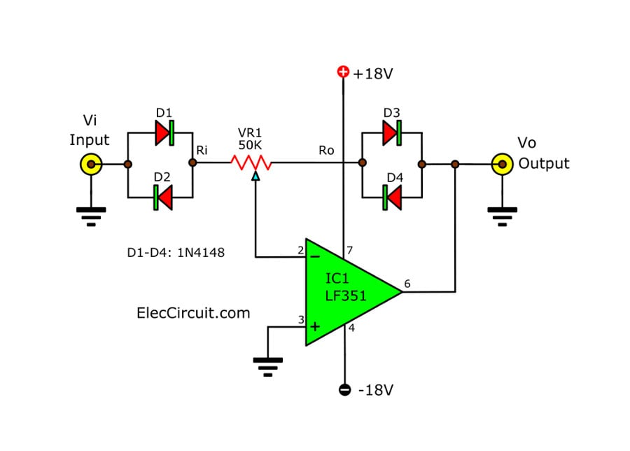Signal amplifier circuit diagram with set input-output ratio