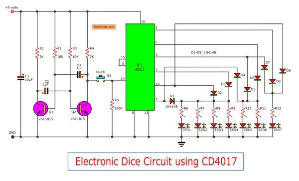 Electronic dice circuit using CD4017
