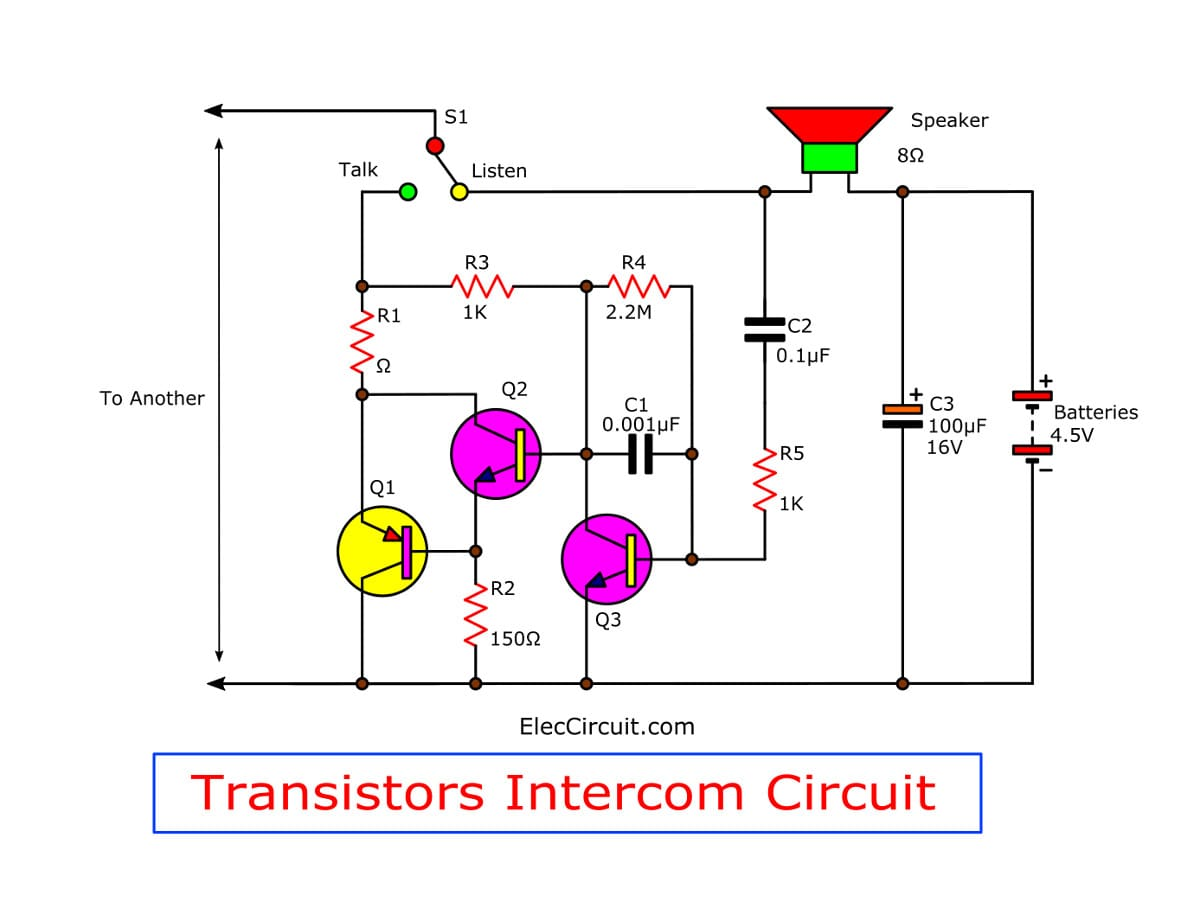 transistor wiring diagram simple transistor intercom circuit electronics projects circuits  simple transistor intercom circuit